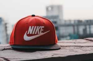 red and black nike fitted cap