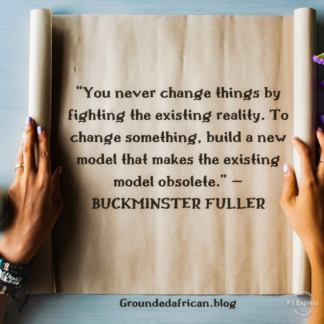 Scroll containing quote by Buckminster Fuller