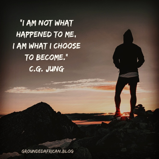 Man on mountain at sunrise in running or hiking gear. Quote by C.G. Jung