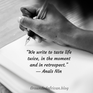 Hand writing in diary. Quote by Anais Nin