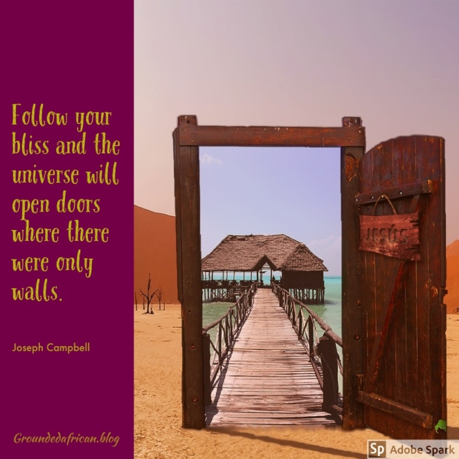 Wooden door in desert opening to a pier on an island. Quote by Joseph Campbell