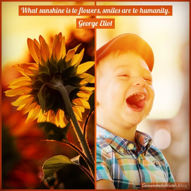 Laughing toddler and sunflower facing the son. Quote by George Eliot