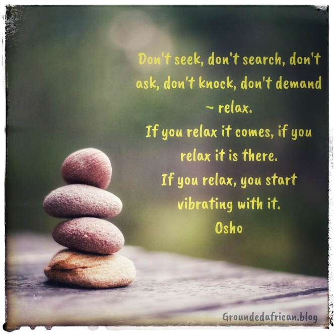 Image of balancing stones. Quote is by Osho