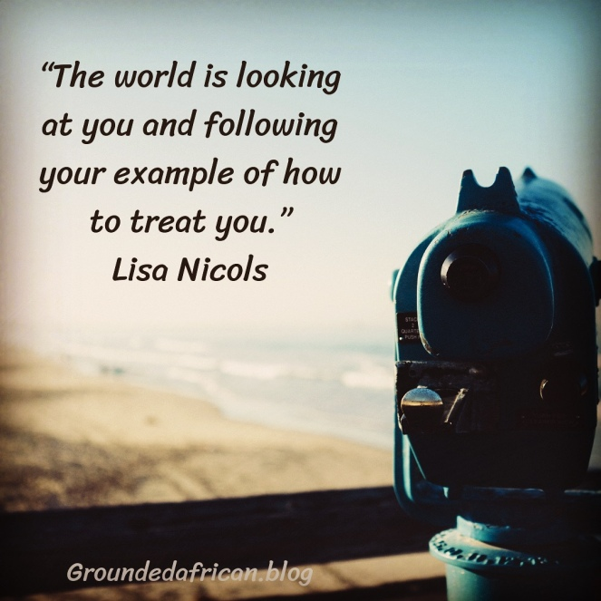 View of beach in background with binoculars in the foreground. Quote by Lisa Nicols