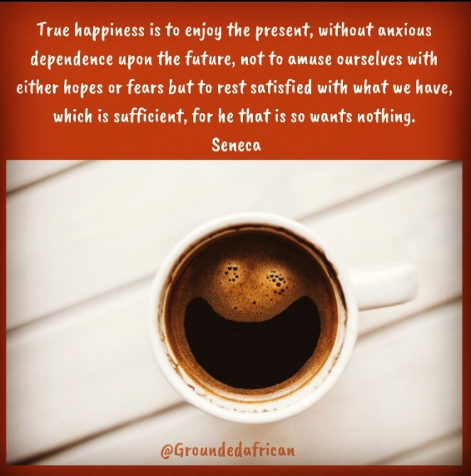 Smiling coffee. Quote by Seneca