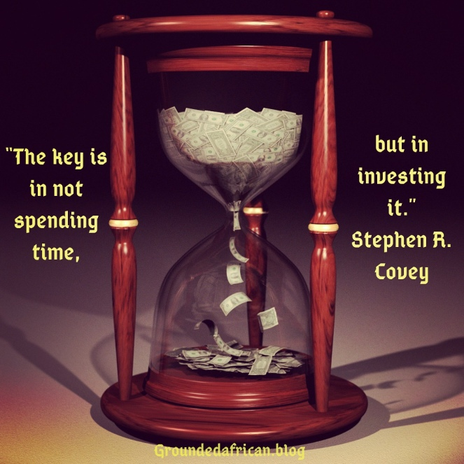 Hourglass filled with money. Quote about investing time by Stephen R. Covey