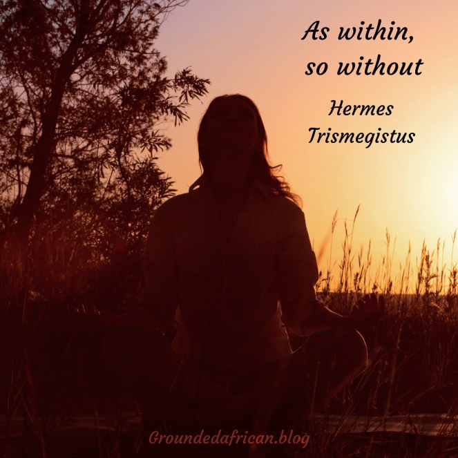 Woman mediating at sunset in field of tall grass. Quote by Hermes Trismegistus