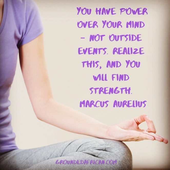 Woman meditating. Quote by Marcus Aurelius re:power of mind