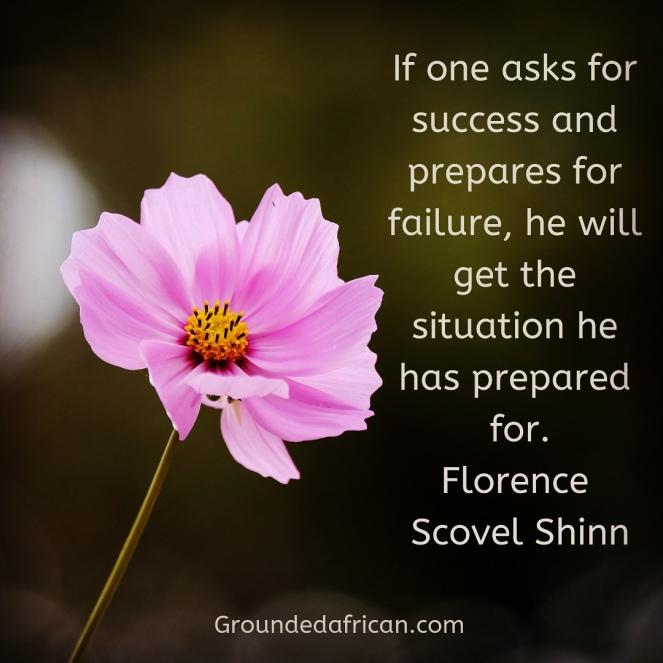 Pink flower. Green background. Quote about faith by Florence Scovel Shinn
