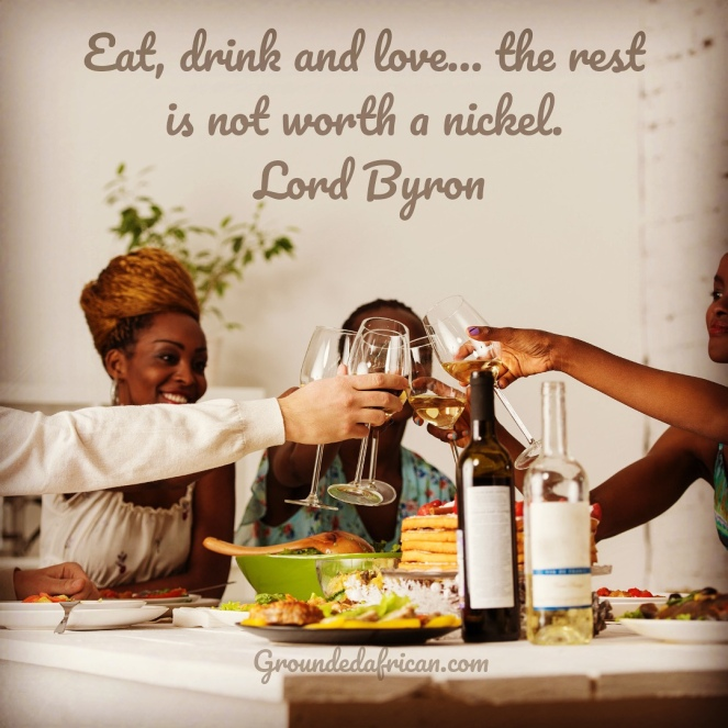 People clinking glasses over a meal. Quote by Lord Byron