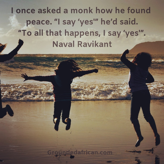 Children jumping excitedly on the shore. Quote by Naval Ravikant about inner peace