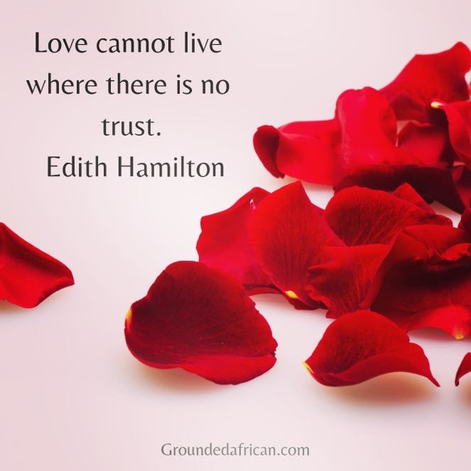 Rose petals. Quote by Edith Hamilton re: love and trust