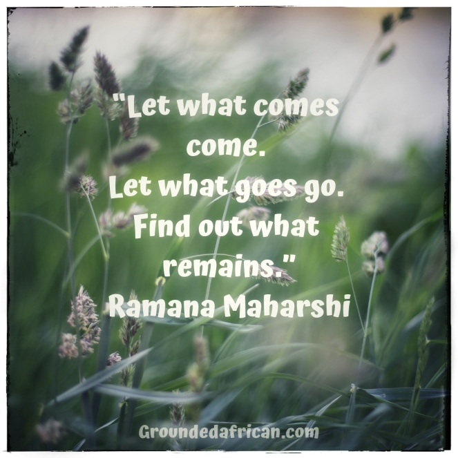 Field of white flowers in the wind. Quote by Ramana Maharshi