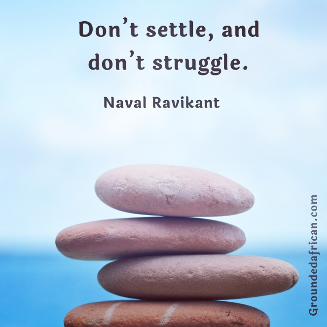 Balancing stones. Blue water and sky. Quote by Naval Ravikant