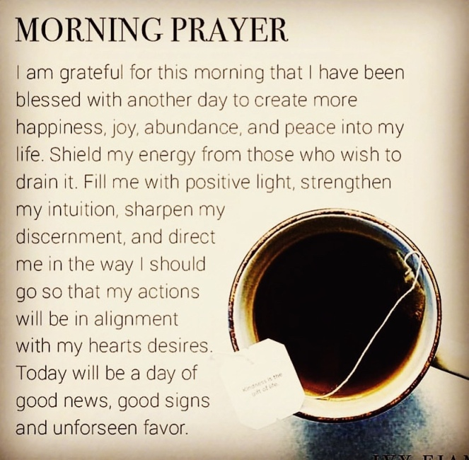 Coffee. Text is a morning prayer