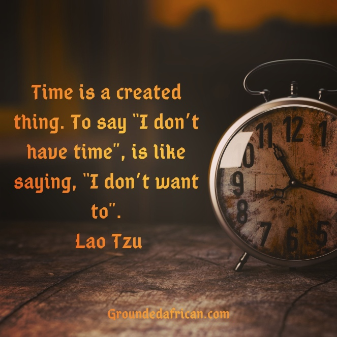Clock. Quote be Lao Tzu re Time