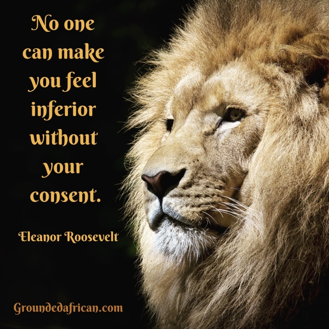 Male Lion. Quote by Eleanor Roosevelt