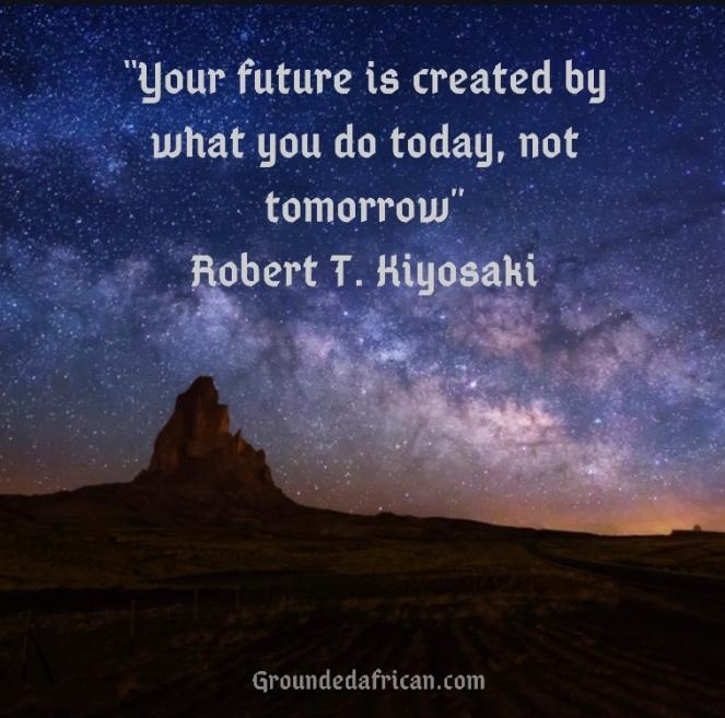 Star filled sky. Quote by Robert T.Kiyosaki