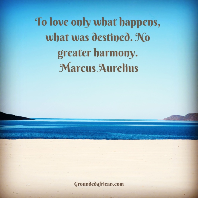 Calm sea, white beach and a clear blue sky. Quote by Marcus Aurelius