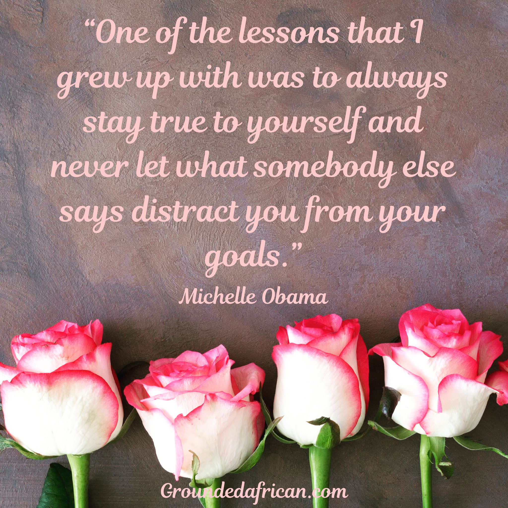 White roses with pink trim . Quote by Michelle Obama