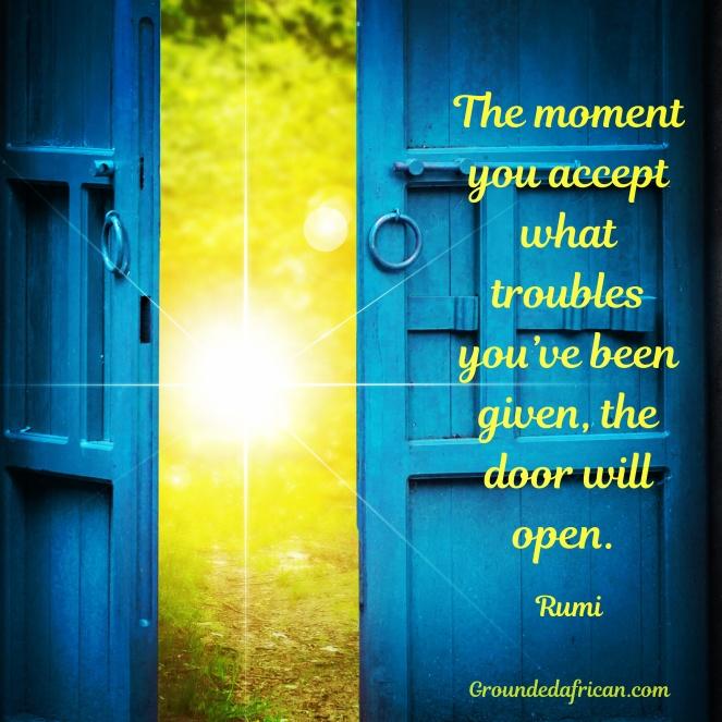 Blue door opening to bright sunshine