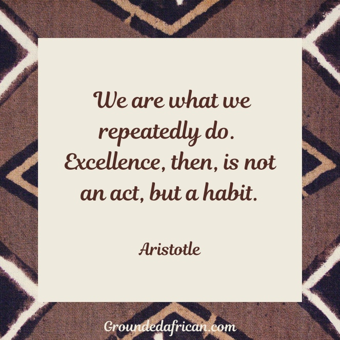Quote by Aristotle in white square and African print background